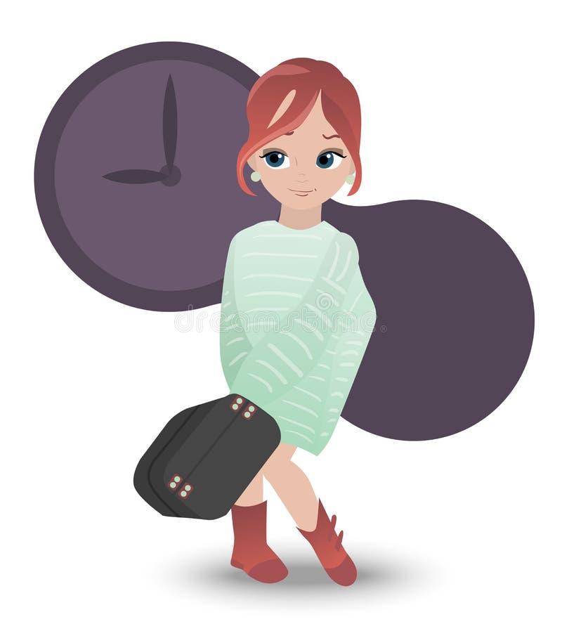 La fille s'est habillée dans le pull molletonné surdimensionné tenant la grande valise grise, grande montre pourpre derrière elle illustration libre de droits