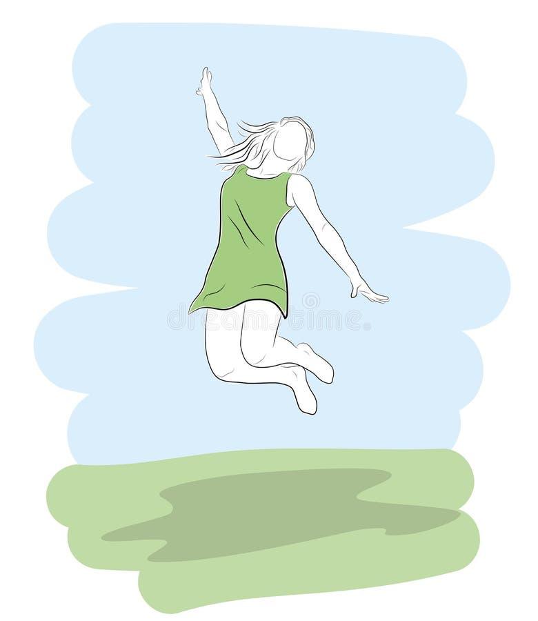 La fille saute avec la joie et le plaisir Illustration de vecteur illustration stock