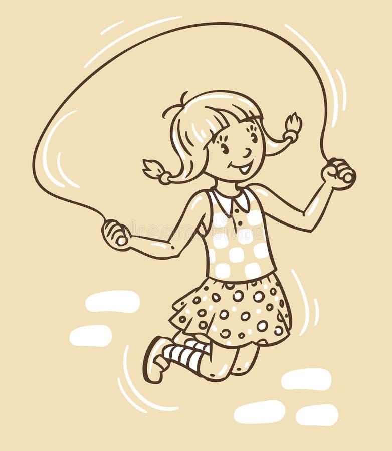 La fille saute avec la corde illustration stock
