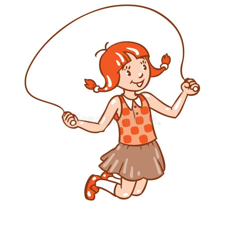 La fille saute avec la corde illustration de vecteur