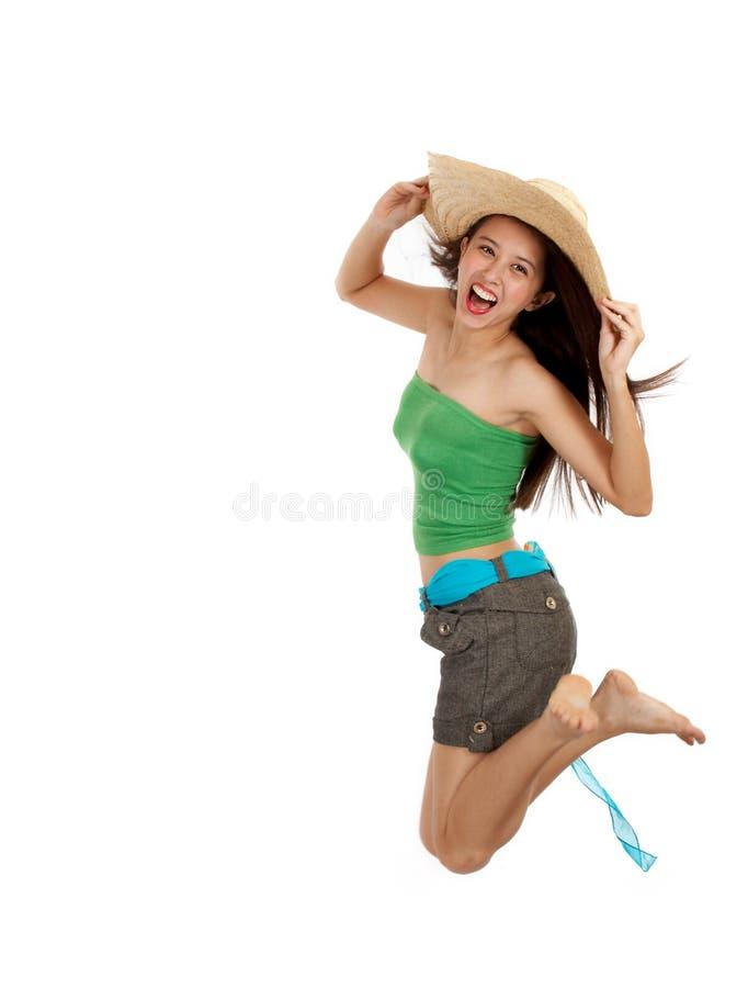 La fille sautent dans l'excitation photos stock
