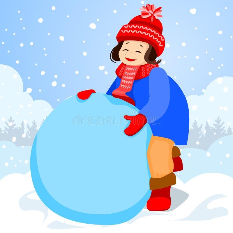 La fille sculpte un grand bloc de neige illustration libre de droits