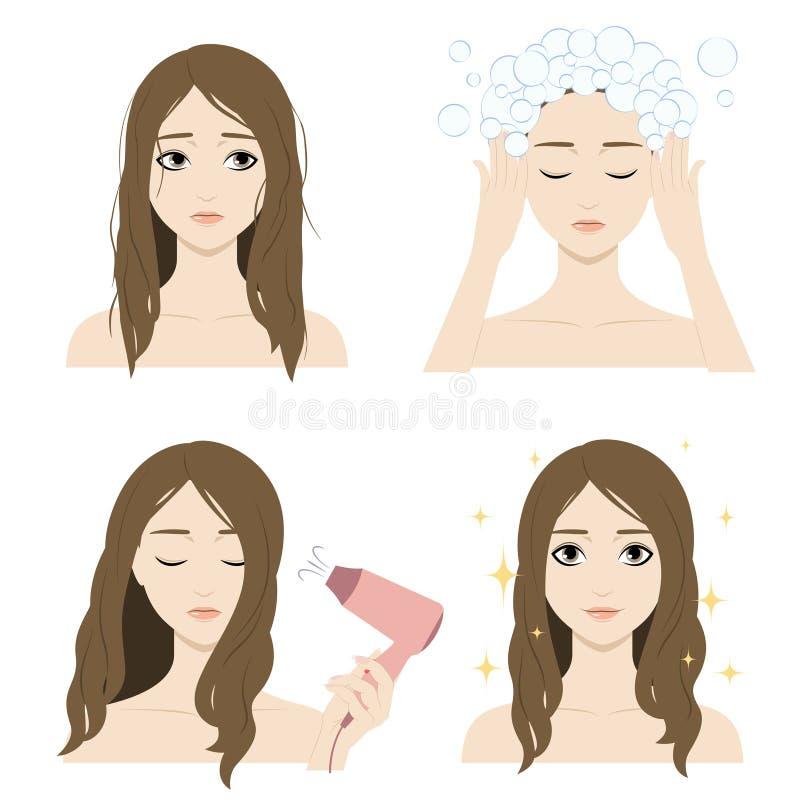La fille se lave les cheveux illustration stock