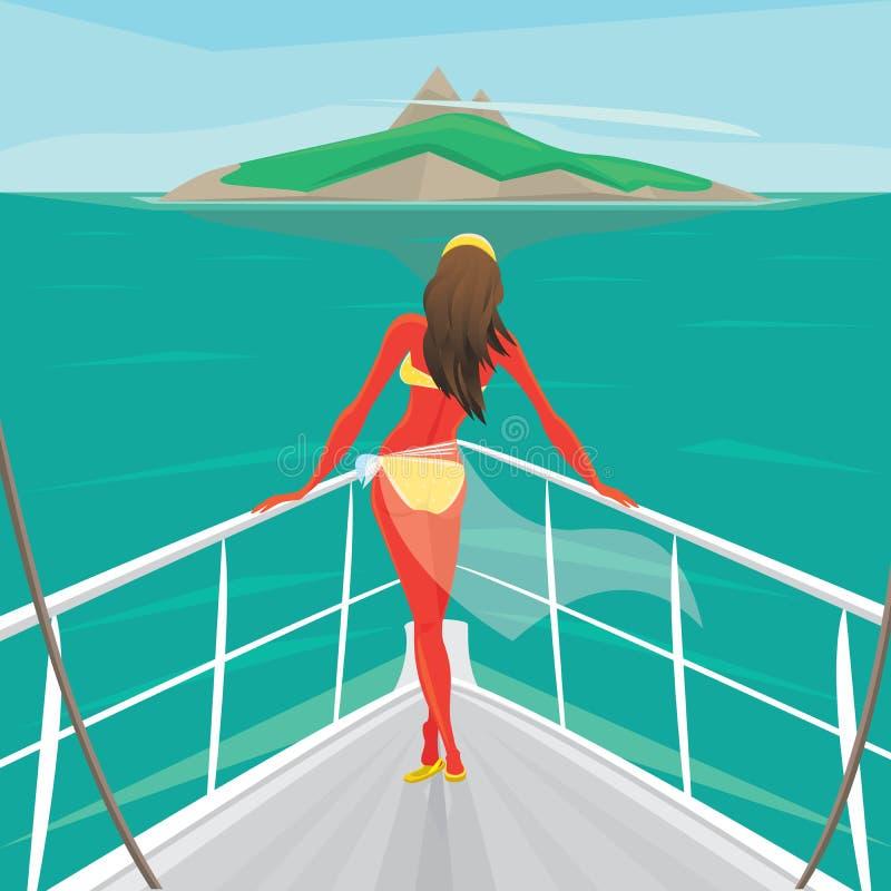 La fille se tenant sur un yacht et admirent l'île illustration libre de droits