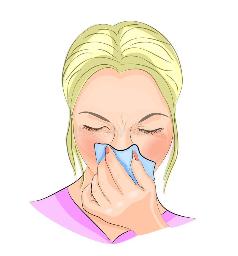 La fille, souffrant de la grippe illustration stock