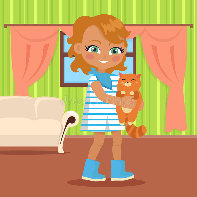La fille tient le petit chat illustration stock