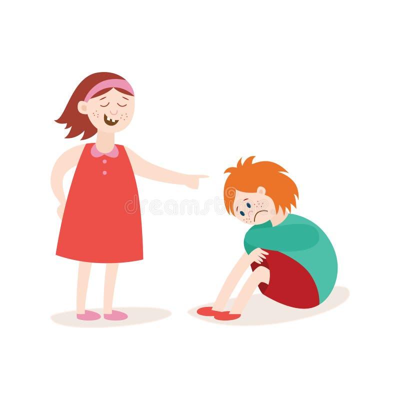 La fille la victime de l'intimidation et de son illustration plate de vecteur de trompeur a isolé illustration libre de droits