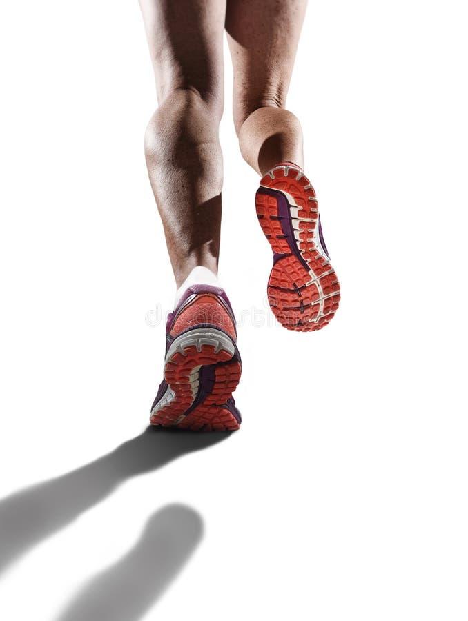 La fin de vue arrière vers le haut des chaussures de course de jambes femelles sportives fortes folâtrent pulser de femme photographie stock libre de droits
