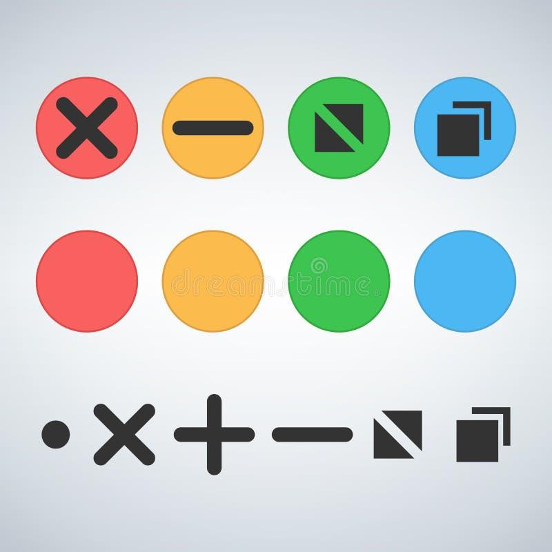 La fin multicolore propre de calibre de boutons d'OS ou de Web réduisent au minimum le bourdonnement pleine page et augmentent le illustration stock
