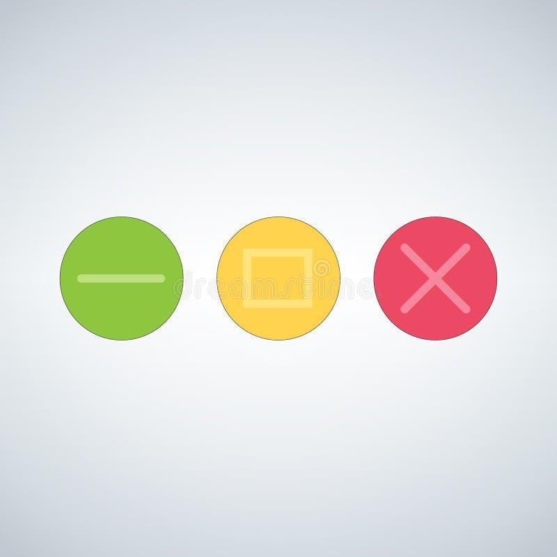 La fin multicolore propre de calibre de boutons d'OS ou de Web réduisent au minimum le bourdonnement pleine page et augmentent le illustration libre de droits