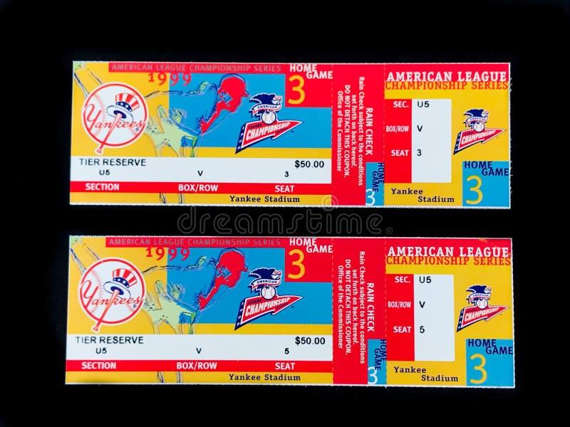 La finale 1999 de New York Yankees étiquette ALCS photos stock