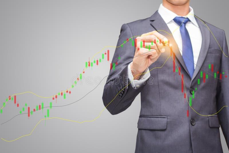 La finanza ed il concetto della gente nell'indice del mercato azionario, in uomo d'affari o nell'agente di cambio indicano la ven immagini stock
