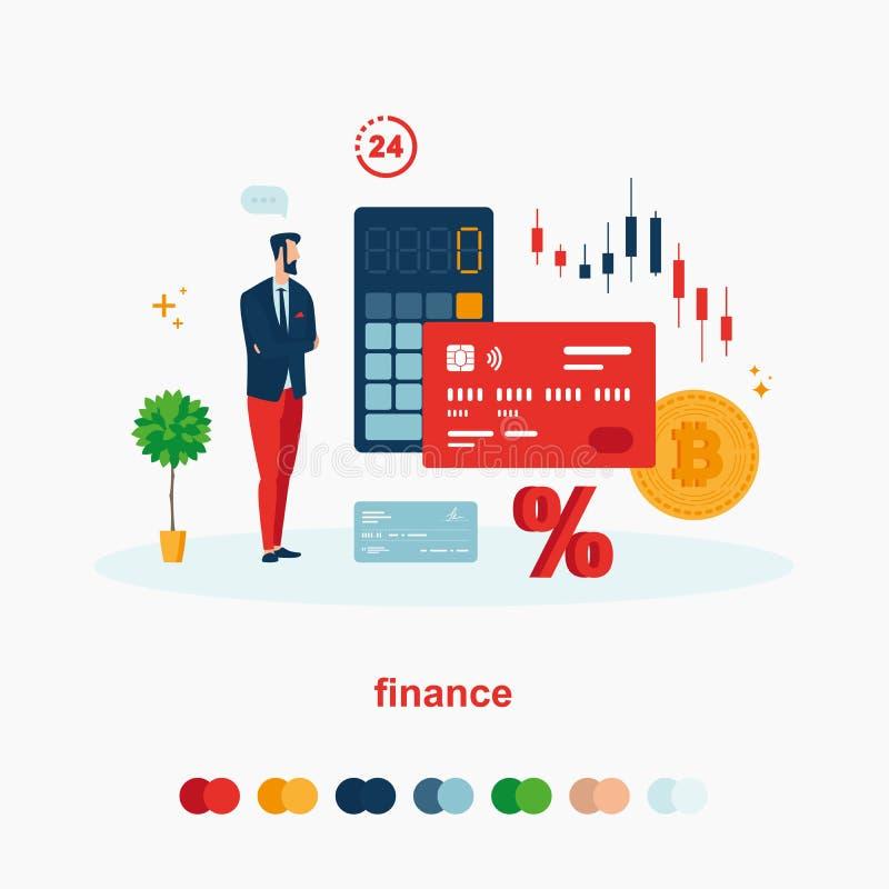 La finanza ha messo con la carta, moneta, calcolatore, orologio, la percentuale royalty illustrazione gratis
