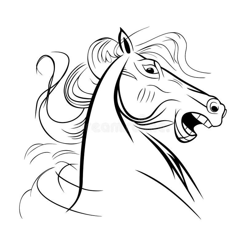 la fine selvaggia del cavallo di nitrito su si dirige immagine stock