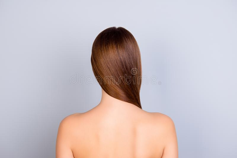 La fine su ha potato indietro la foto di vista di giovane ragazza dai capelli marrone stan fotografie stock libere da diritti