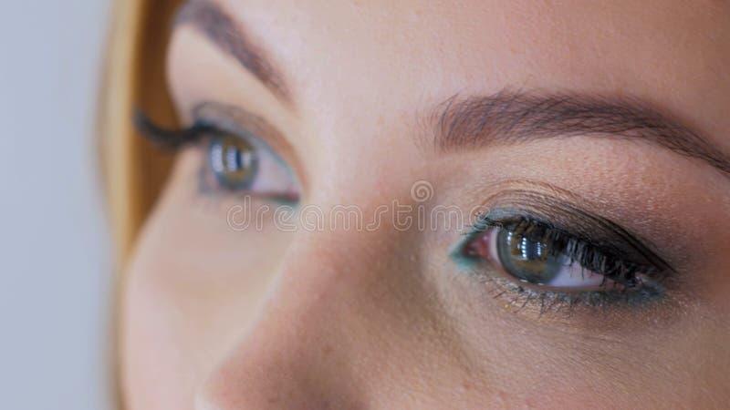 La fine sulla vista del ` s della donna osserva con trucco professionale immagini stock