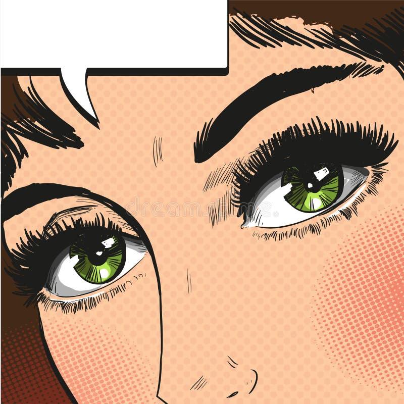 La fine sulla vista osserva vettore di Pop art della donna il retro illustrazione di stock