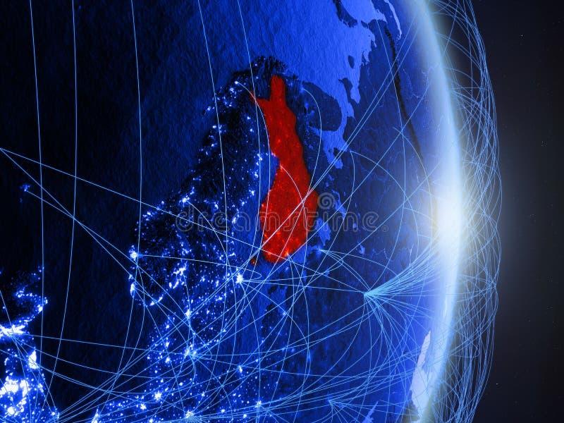 La Finlande sur la terre numérique bleue bleue photographie stock