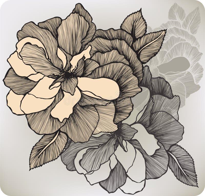 La fioritura decorativa è aumentato, a mano disegno Illustrazione di vettore illustrazione vettoriale