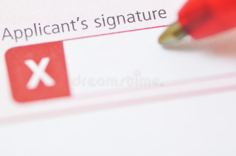 La firma del richiedente immagini stock libere da diritti
