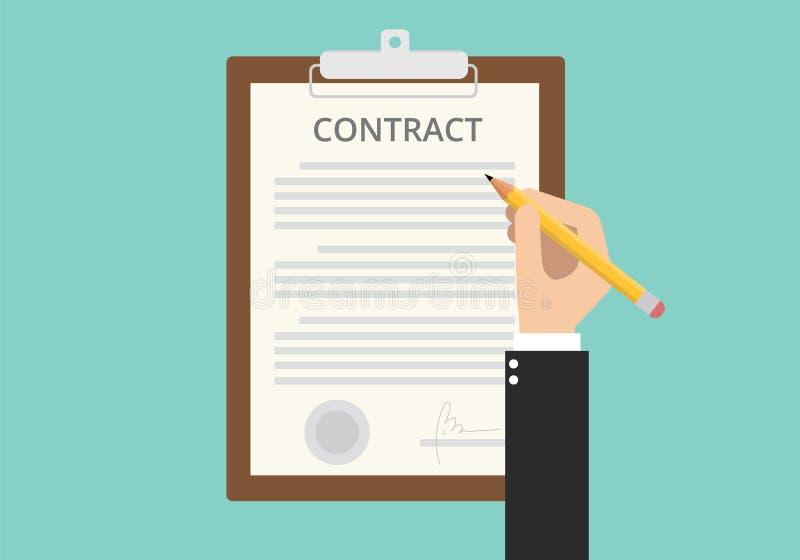 La firma firma il documento cartaceo del contratto royalty illustrazione gratis