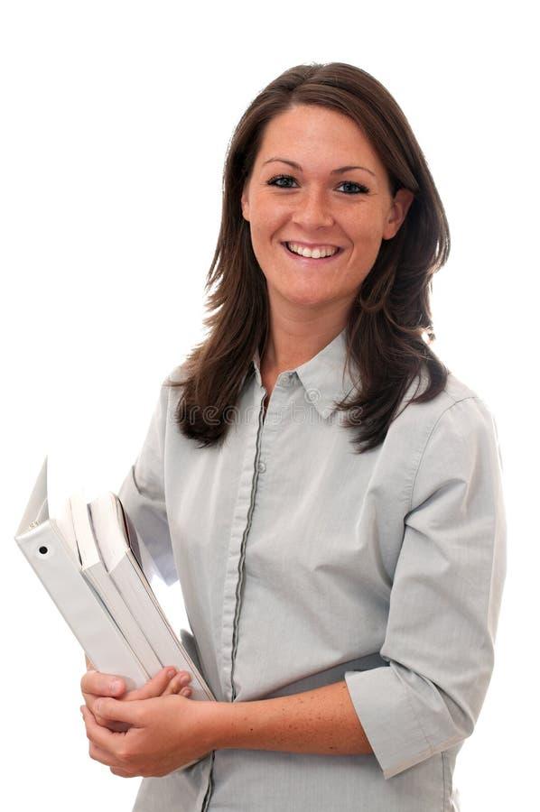 la fixation femelle a isolé des manuels d'étudiant photo stock