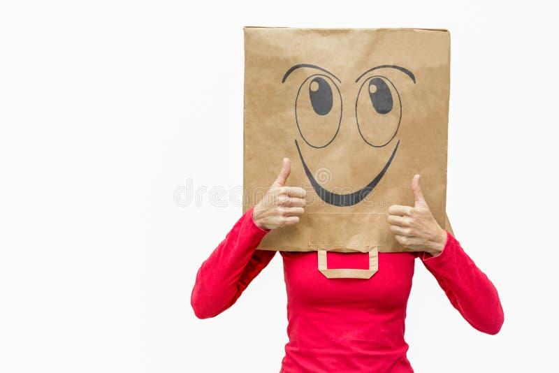 La fixation heureuse de femme manie maladroitement vers le haut photo stock