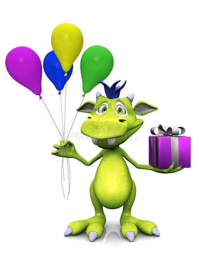 La fixation mignonne de monstre de dessin animé monte en ballon et un cadeau. illustration libre de droits