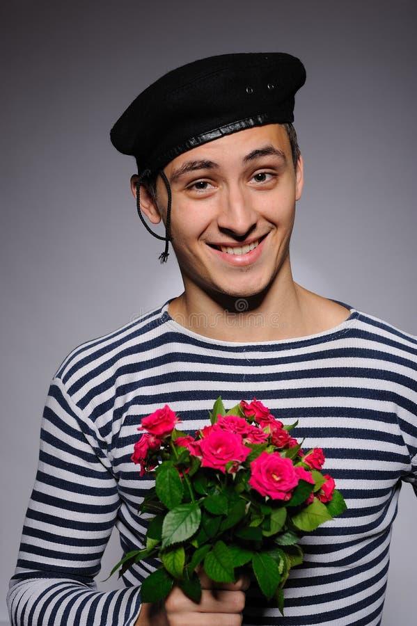 La fixation romantique drôle d'homme de marin a monté images libres de droits