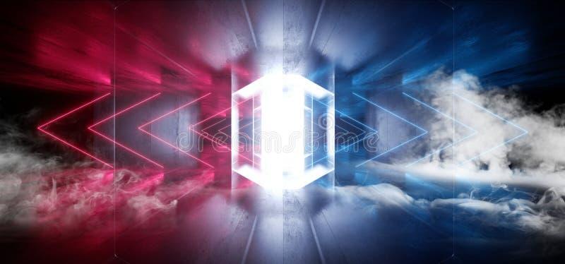 La flèche au néon futuriste de laser de Sci fi de fumée forme l'obscurité concrète grunge rougeoyante d'étape de fond bleu rouge  illustration de vecteur