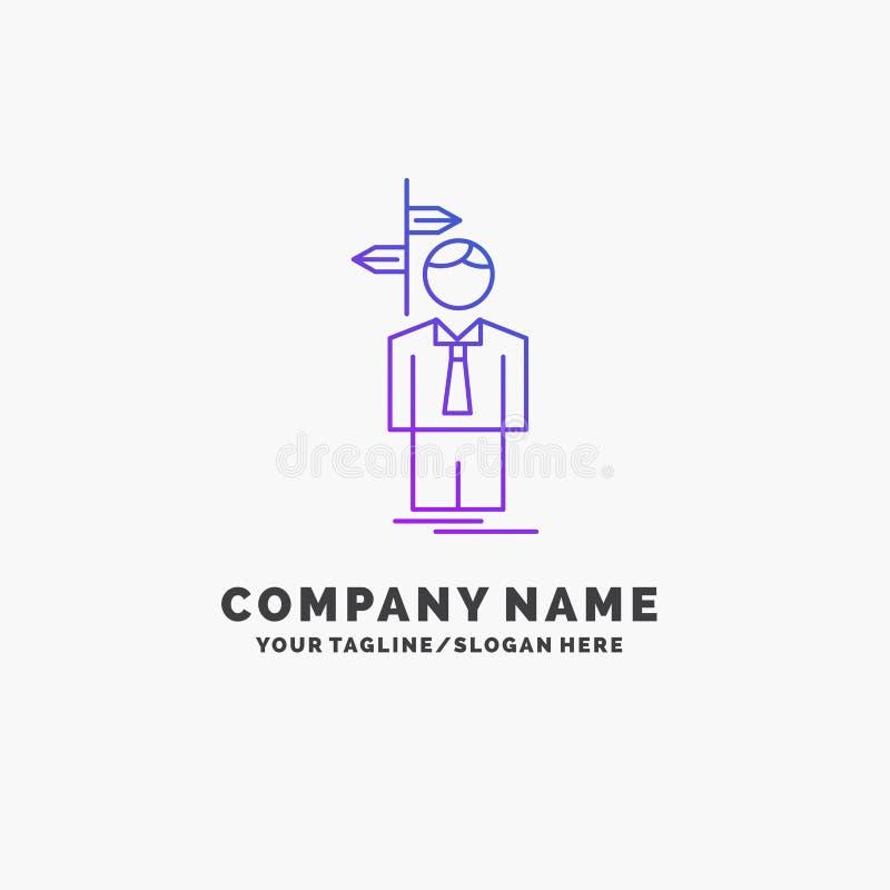 La flèche, choix, choisissent, décision, affaires pourpres Logo Template de direction Endroit pour le Tagline illustration stock
