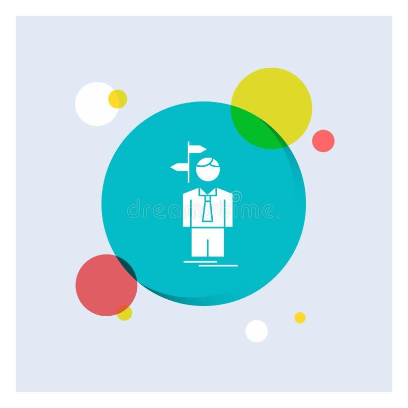 La flèche, choix, choisissent, décision, fond coloré de cercle d'icône blanche de Glyph de direction illustration de vecteur