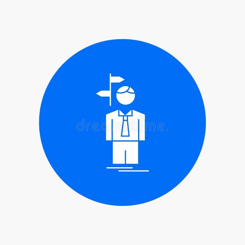 La flèche, choix, choisissent, la décision, icône blanche de Glyph de direction en cercle Illustration de bouton de vecteur illustration stock