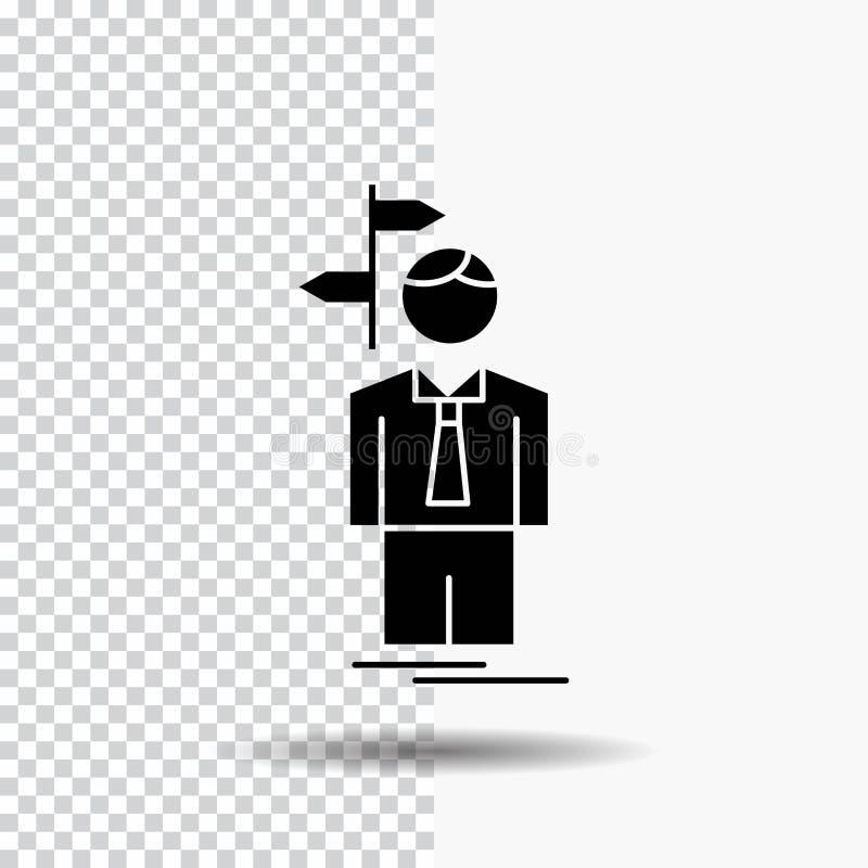 La flèche, choix, choisissent, la décision, icône de Glyph de direction sur le fond transparent Ic?ne noire illustration libre de droits