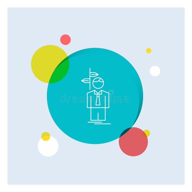 La flèche, choix, choisissent, décision, ligne blanche fond coloré de direction de cercle d'icône illustration de vecteur