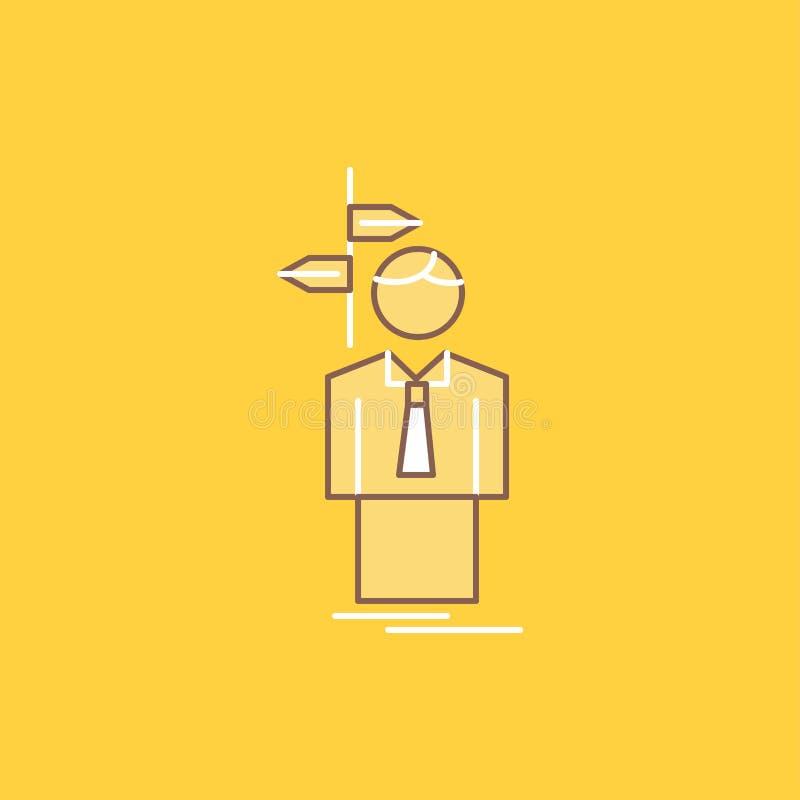 La flèche, choix, choisissent, décision, ligne plate icône remplie de direction Beau bouton de logo au-dessus de fond jaune pour  illustration stock