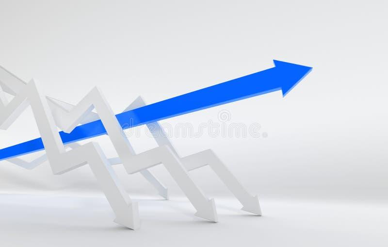 La flèche 3D bleue mène la course illustration de vecteur