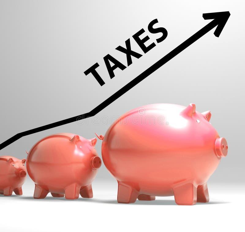 La flèche d'impôts montre une imposition et des prélèvements plus élevés illustration de vecteur