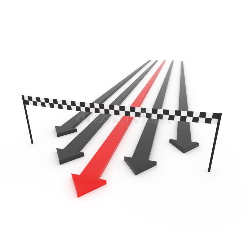 La flèche 3D rouge gagne la course illustration libre de droits