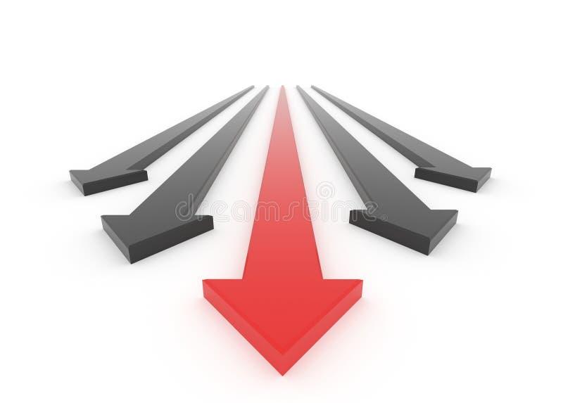 La flèche 3D rouge mène la course illustration stock