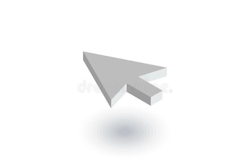 La flèche de curseur, cliquent sur l'icône plate isométrique vecteur 3d illustration libre de droits