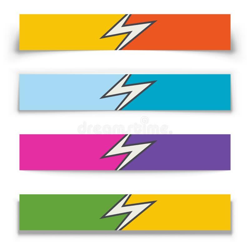La flèche de danger a dédoublé 2 bannières horizontales de couleur illustration libre de droits