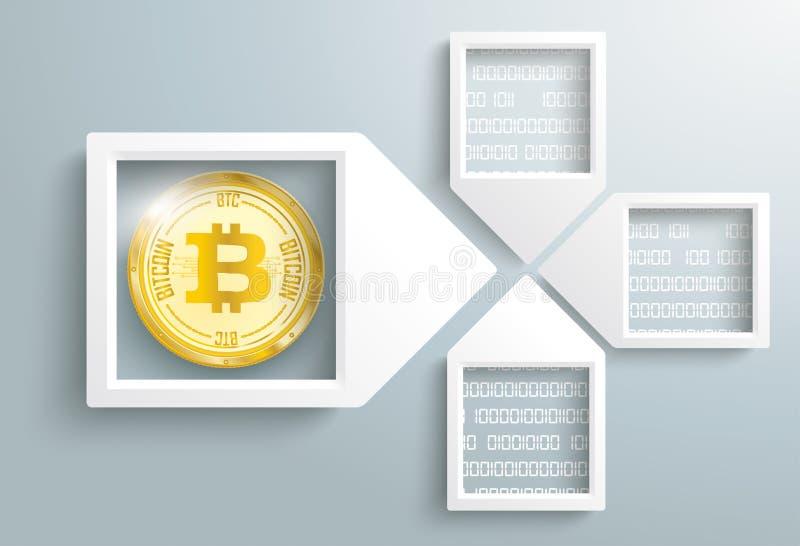 La flèche de papier encadre des données Bitcoin Blockchain illustration stock