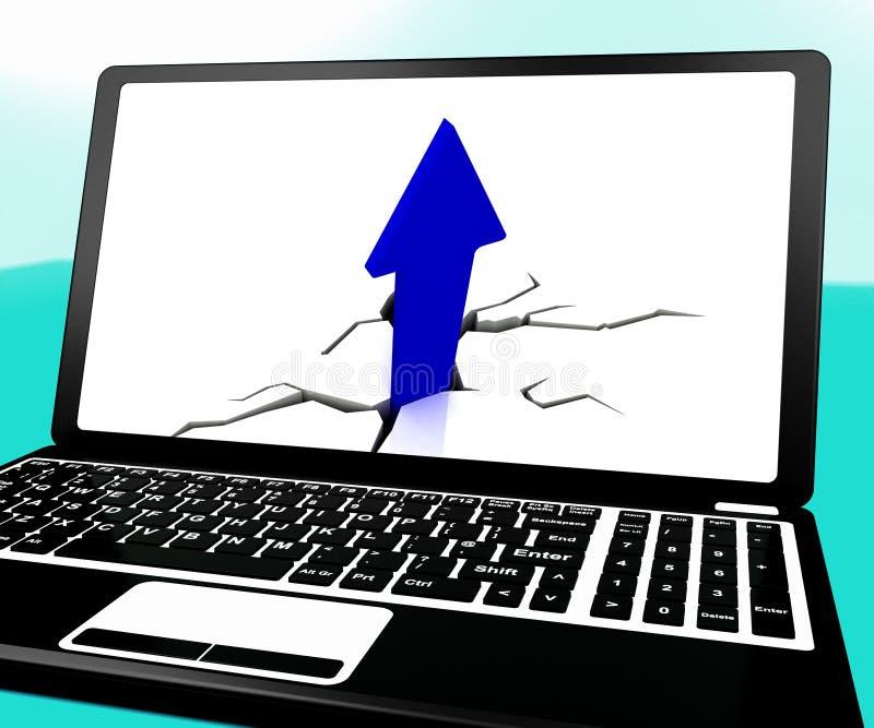 La flèche montant sur l'ordinateur portable affiche des produits importants illustration stock
