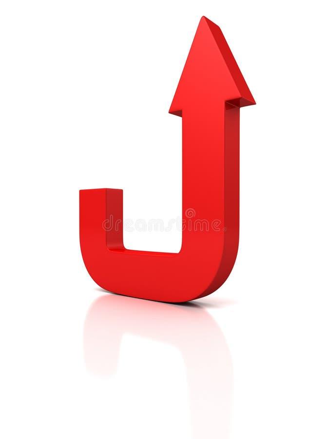 La flèche rouge grandissent sur le blanc avec l'ombre et la réflexion illustration libre de droits