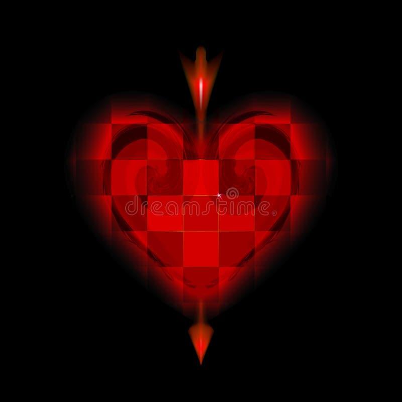 La flèche rougeoyante du cupidon a percé le coeur rouge cellulaire Icône de l'amour de jour de valentines Amur aimant sur le fond illustration stock