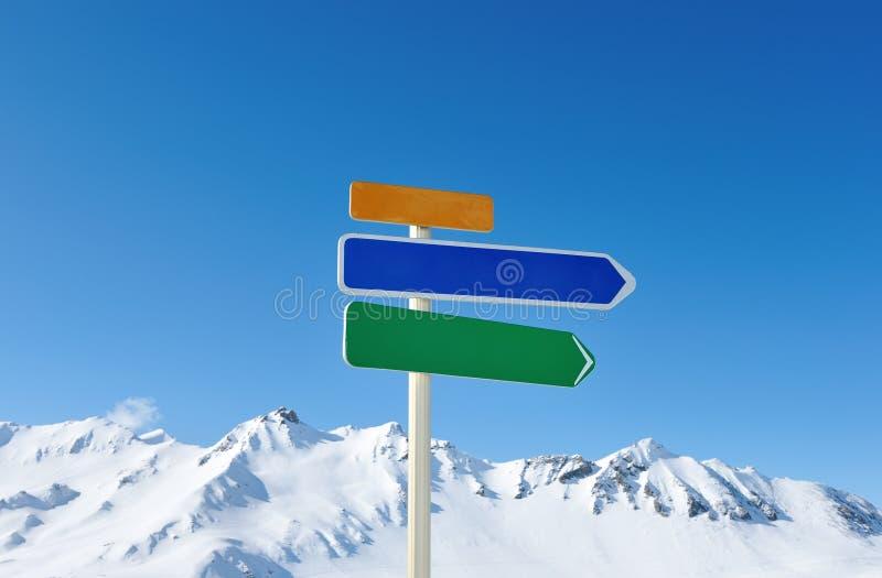La flèche signent dedans des montagnes image libre de droits