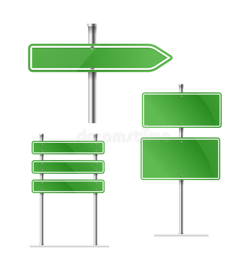 La flèche verte vide en métal embarque le collecion d'isolement  illustration de vecteur
