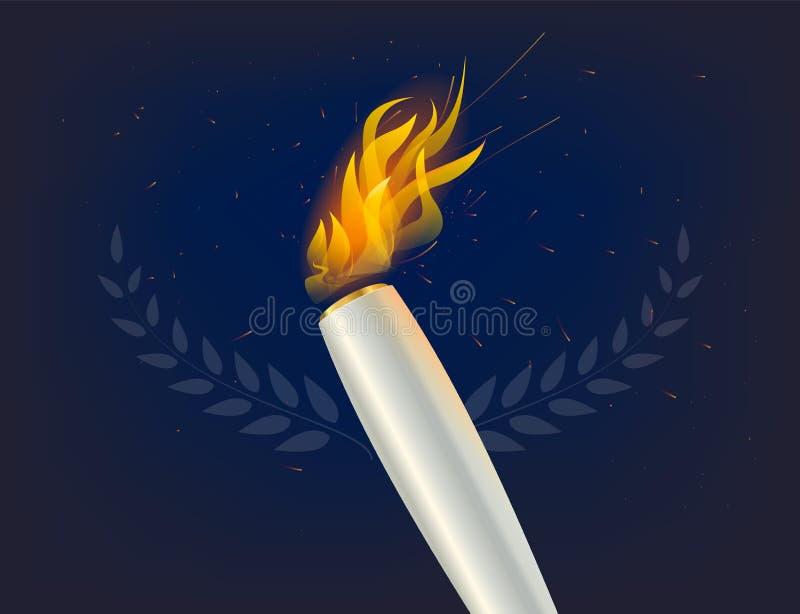 La flamme argentée de torche avec des gagnants tressent, sur le fond abstrait foncé Icône de championnat, un symbole de victoire illustration libre de droits