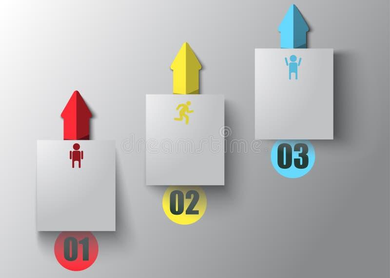 La flecha ascendente, infographics tridimensional ilustración del vector